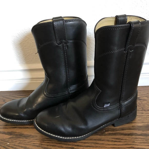 """Justin Boots Shoes - Black Justin 10"""" shaft round toe roper boot"""